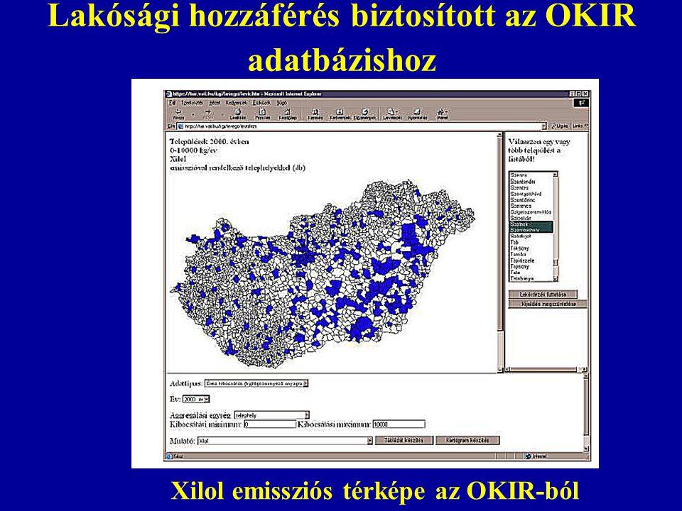 Lakósági hozzáférés biztosított az OKIR adatbázishoz Xilol emissziós térképe az OKIR-ból