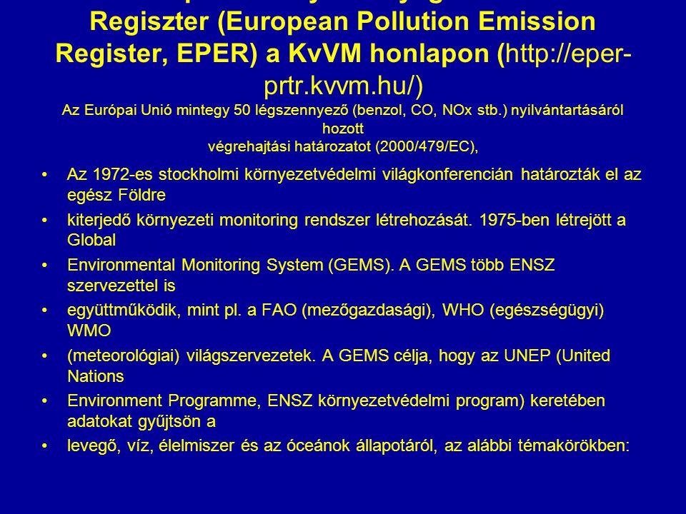 Az Európai Szennyezőanyag Kibocsátási Regiszter (European Pollution Emission Register, EPER) a KvVM honlapon (http://eper- prtr.kvvm.hu/) Az Európai Unió mintegy 50 légszennyező (benzol, CO, NOx stb.) nyilvántartásáról hozott végrehajtási határozatot (2000/479/EC), Az 1972-es stockholmi környezetvédelmi világkonferencián határozták el az egész Földre kiterjedő környezeti monitoring rendszer létrehozását.