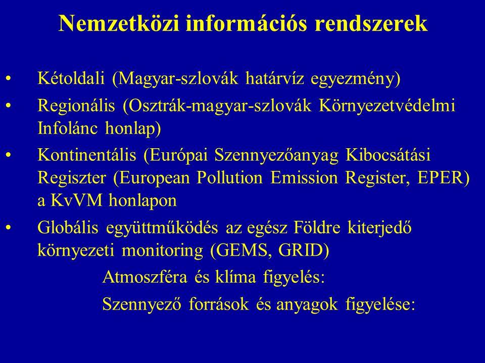 Nemzetközi információs rendszerek Kétoldali (Magyar-szlovák határvíz egyezmény) Regionális (Osztrák-magyar-szlovák Környezetvédelmi Infolánc honlap) Kontinentális (Európai Szennyezőanyag Kibocsátási Regiszter (European Pollution Emission Register, EPER) a KvVM honlapon Globális együttműködés az egész Földre kiterjedő környezeti monitoring (GEMS, GRID) Atmoszféra és klíma figyelés: Szennyező források és anyagok figyelése: