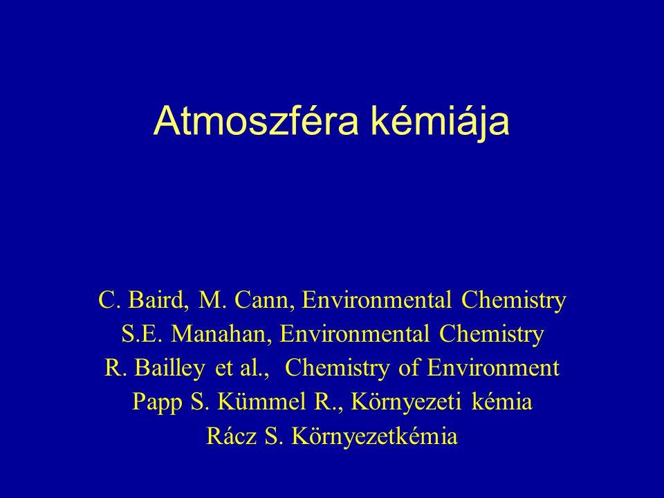 Atmoszféra kémiája C. Baird, M. Cann, Environmental Chemistry S.E. Manahan, Environmental Chemistry R. Bailley et al., Chemistry of Environment Papp S