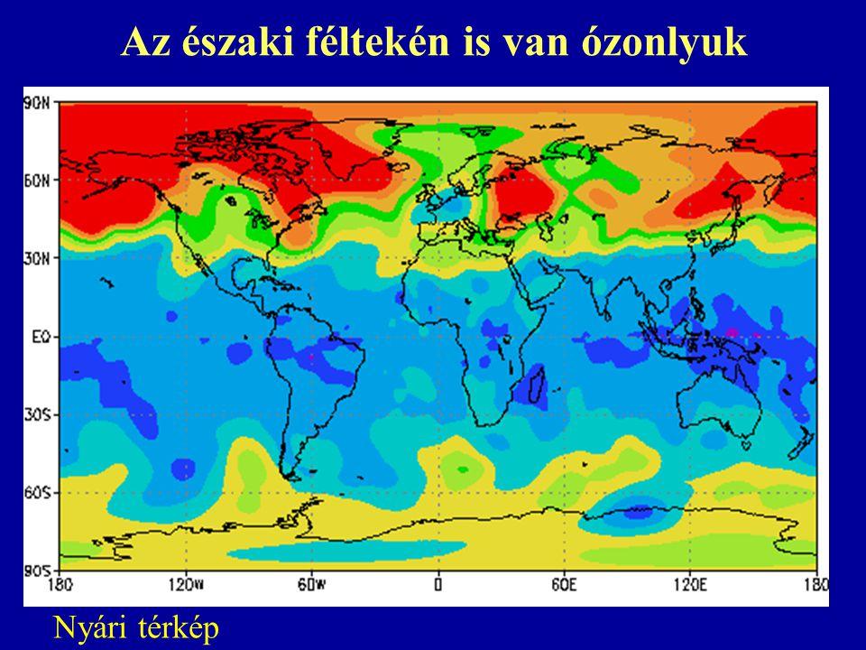 Az északi féltekén is van ózonlyuk Nyári térkép