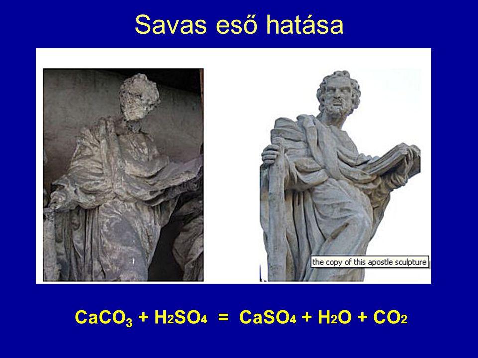 Savas eső hatása CaCO 3 + H 2 SO 4 = CaSO 4 + H 2 O + CO 2