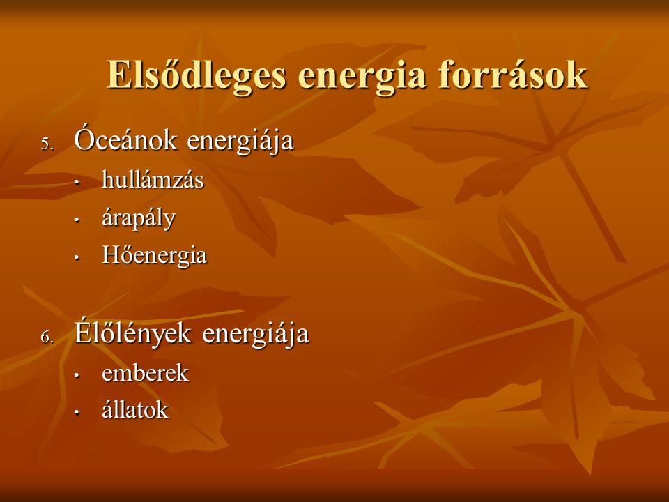 Elsődleges energia források 5. Óceánok energiája hullámzás hullámzás árapály árapály Hőenergia Hőenergia 6. Élőlények energiája emberek emberek állato