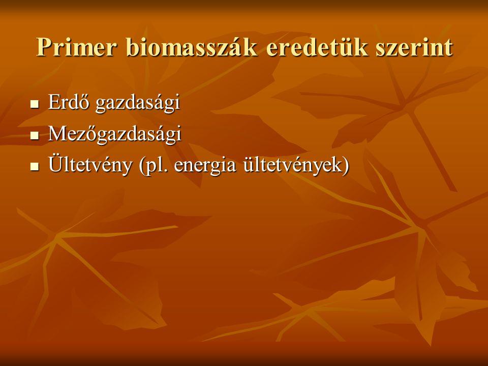 Primer biomasszák eredetük szerint Erdő gazdasági Erdő gazdasági Mezőgazdasági Mezőgazdasági Ültetvény (pl. energia ültetvények) Ültetvény (pl. energi