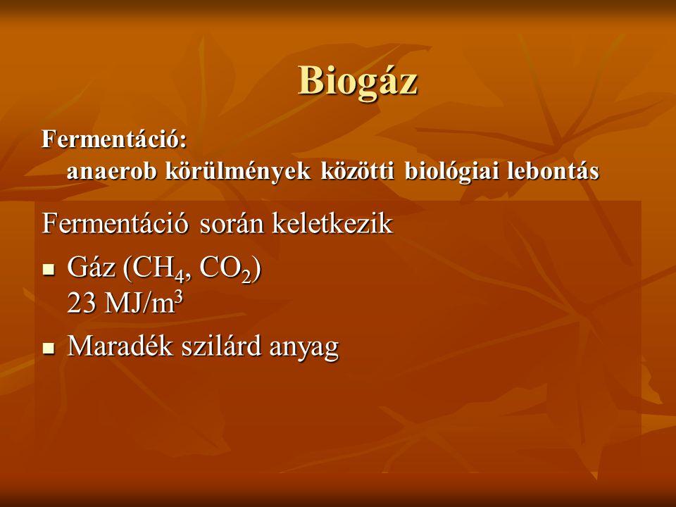 Biogáz Fermentáció: anaerob körülmények közötti biológiai lebontás Fermentáció során keletkezik Gáz (CH 4, CO 2 ) 23 MJ/m 3 Gáz (CH 4, CO 2 ) 23 MJ/m