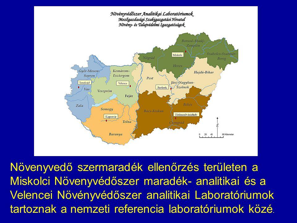 Növenyvedő szermaradék ellenőrzés területen a Miskolci Növenyvédőszer maradék- analitikai és a Velencei Növényvédőszer analitikai Laboratóriumok tartoznak a nemzeti referencia laboratóriumok közé.