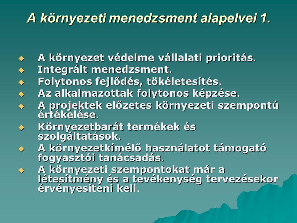 A környezeti menedzsment alapelvei 1.  A környezet védelme vállalati prioritás.  Integrált menedzsment.  Folytonos fejlődés, tökéletesítés.  Az al