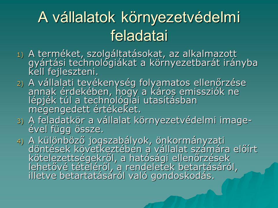 A vállalatok környezetvédelmi feladatai 1) A terméket, szolgáltatásokat, az alkalmazott gyártási technológiákat a környezetbarát irányba kell fejleszt