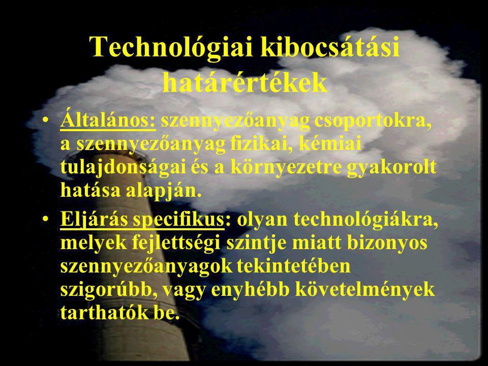 Technológiai kibocsátási határértékek Általános: szennyezőanyag csoportokra, a szennyezőanyag fizikai, kémiai tulajdonságai és a környezetre gyakorolt hatása alapján.