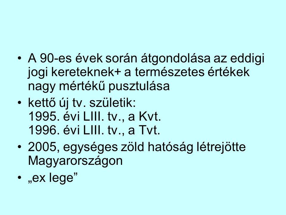 A 90-es évek során átgondolása az eddigi jogi kereteknek+ a természetes értékek nagy mértékű pusztulása kettő új tv. születik: 1995. évi LIII. tv., a