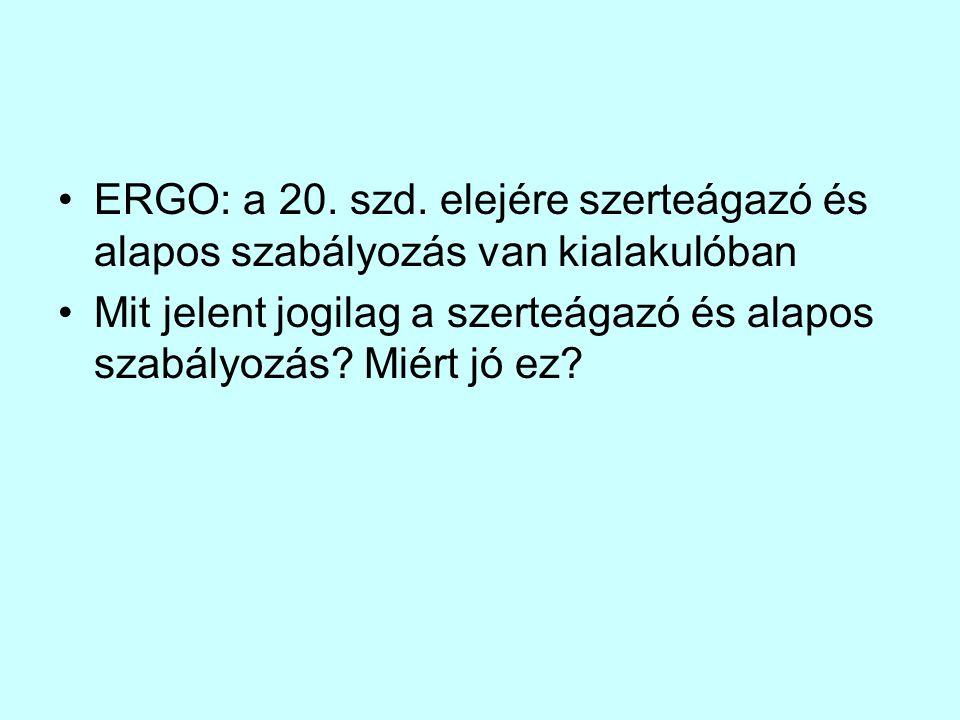 ERGO: a 20. szd. elejére szerteágazó és alapos szabályozás van kialakulóban Mit jelent jogilag a szerteágazó és alapos szabályozás? Miért jó ez?