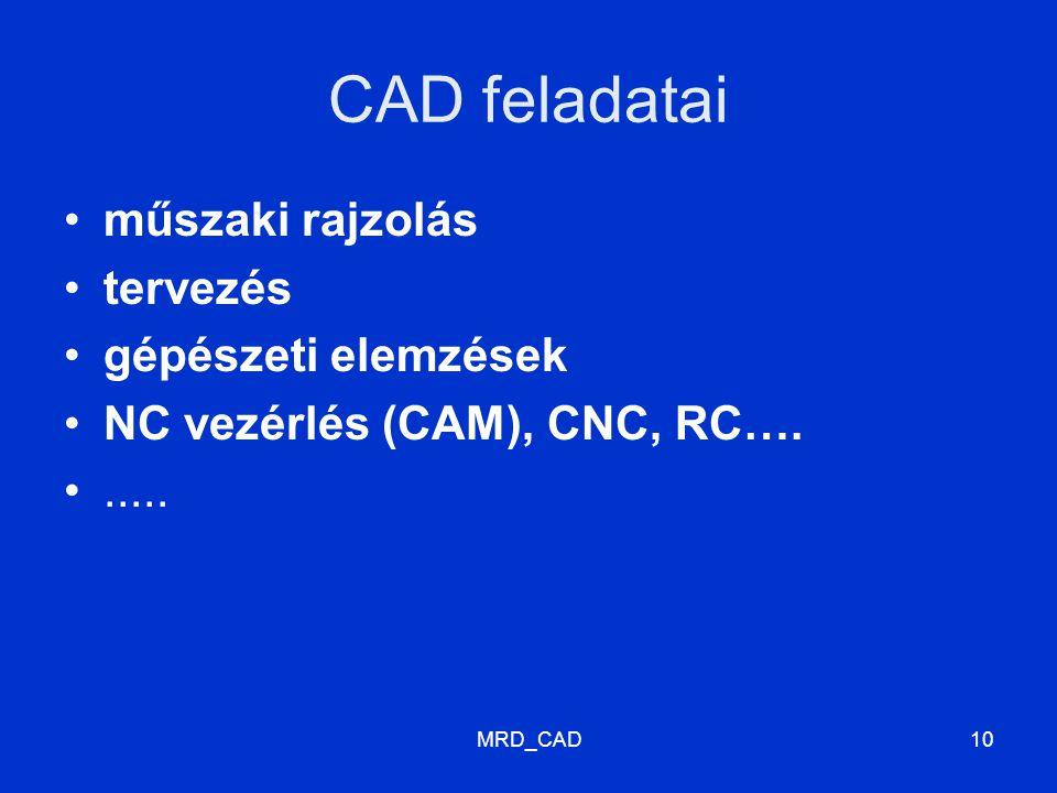 MRD_CAD10 CAD feladatai műszaki rajzolás tervezés gépészeti elemzések NC vezérlés (CAM), CNC, RC…......