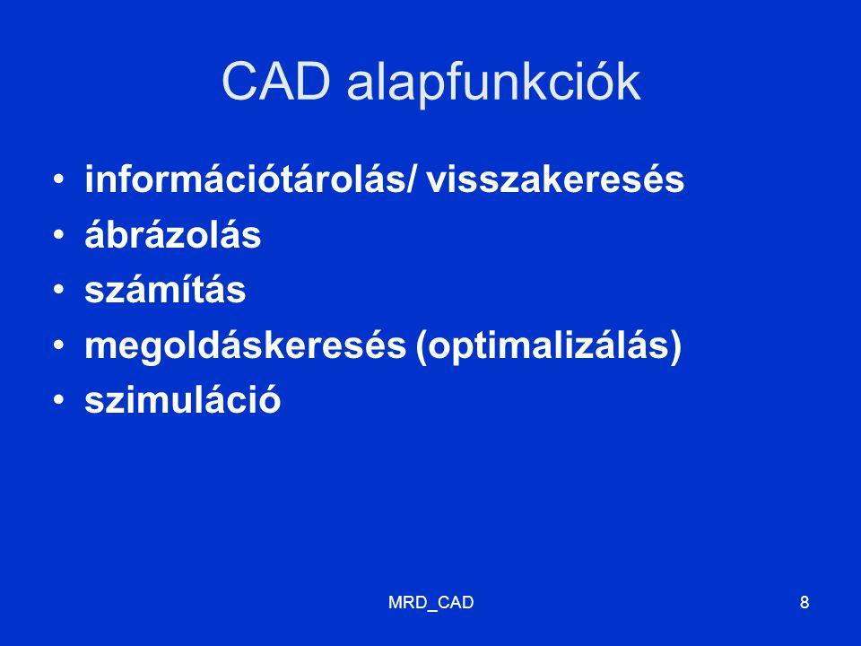 MRD_CAD8 CAD alapfunkciók információtárolás/ visszakeresés ábrázolás számítás megoldáskeresés (optimalizálás) szimuláció