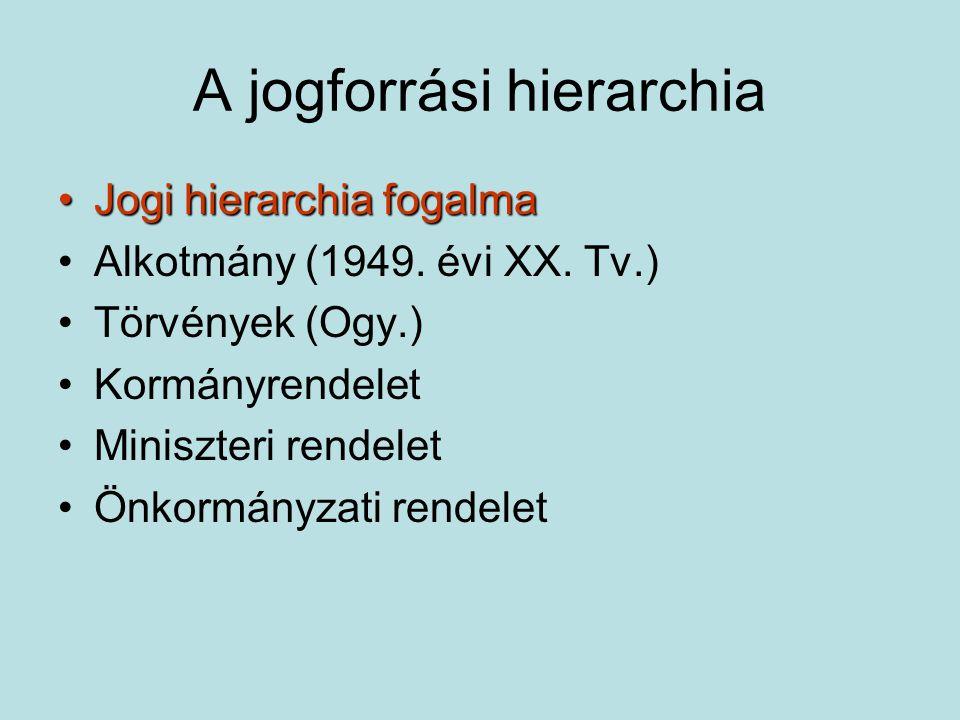 A jogforrási hierarchia Jogi hierarchia fogalmaJogi hierarchia fogalma Alkotmány (1949.