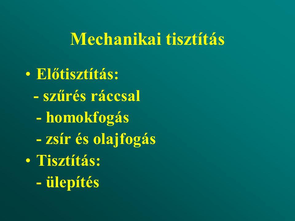 Mechanikai tisztítás Előtisztítás: - szűrés ráccsal - homokfogás - zsír és olajfogás Tisztítás: - ülepítés