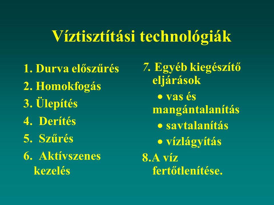 Víztisztítási technológiák 1. Durva előszűrés 2. Homokfogás 3. Ülepítés 4. Derítés 5. Szűrés 6. Aktívszenes kezelés 7. Egyéb kiegészítő eljárások  va