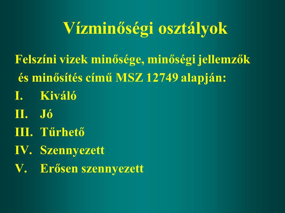 Vízminőségi osztályok Felszíni vizek minősége, minőségi jellemzők és minősítés című MSZ 12749 alapján: I.Kiváló II.Jó III.Tűrhető IV.Szennyezett V.Erő
