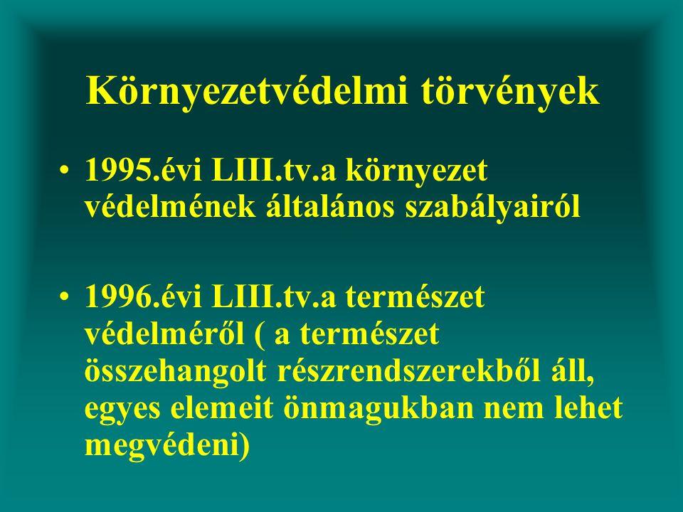 Környezetvédelmi törvények 1995.évi LIII.tv.a környezet védelmének általános szabályairól 1996.évi LIII.tv.a természet védelméről ( a természet összehangolt részrendszerekből áll, egyes elemeit önmagukban nem lehet megvédeni)
