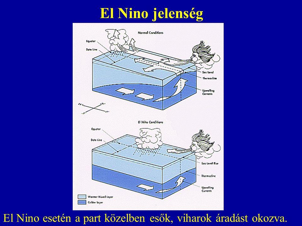 El Nino jelenség El Nino esetén a part közelben esők, viharok áradást okozva.