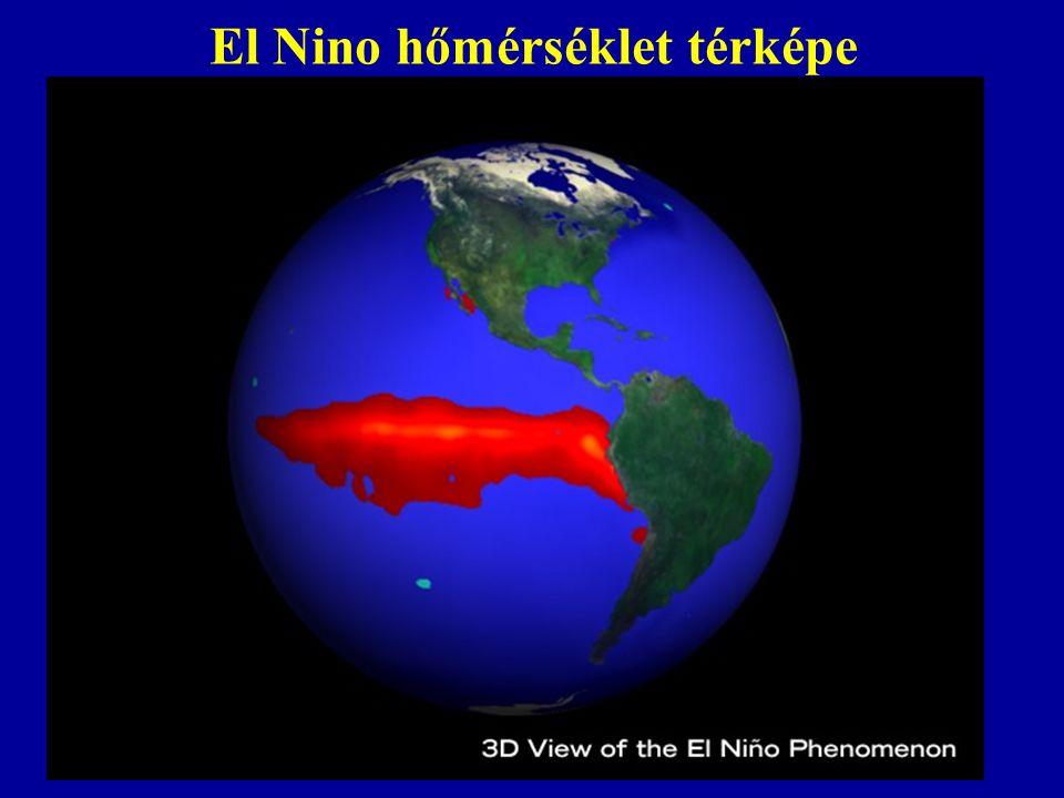 El Nino abnormális hőmérséklet eloszlása El Nino Normális