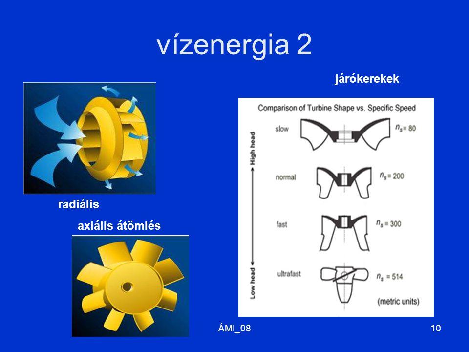 ÁMI_0811 vízenergia 3. Kaplan-turbina (axiális átömlés) Francis-turbina (radiális átömlés)