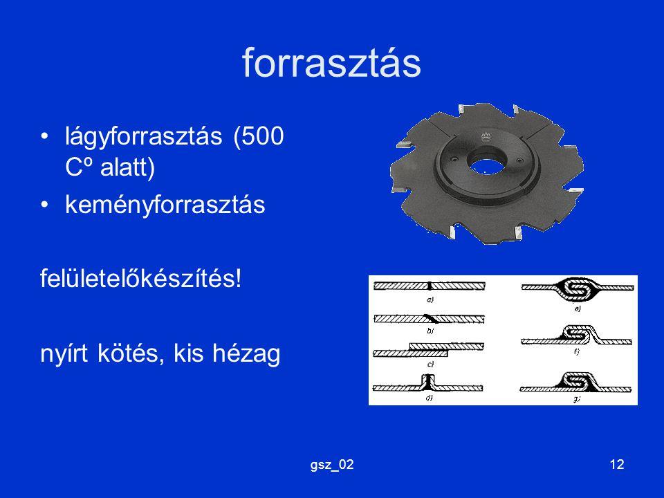 gsz_0212 forrasztás lágyforrasztás (500 Cº alatt) keményforrasztás felületelőkészítés! nyírt kötés, kis hézag