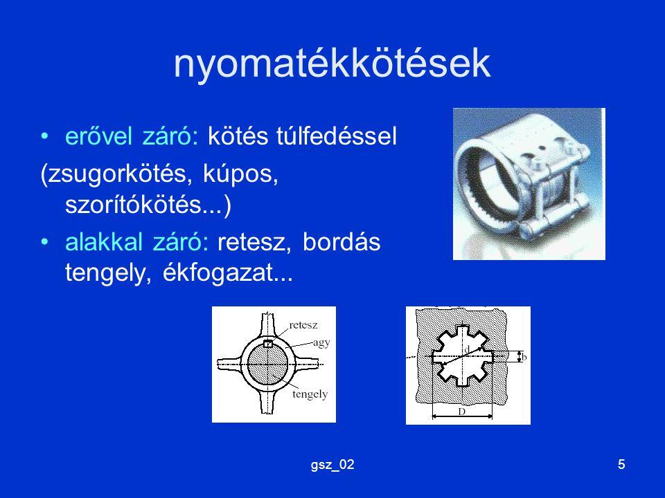 gsz_025 nyomatékkötések erővel záró: kötés túlfedéssel (zsugorkötés, kúpos, szorítókötés...) alakkal záró: retesz, bordás tengely, ékfogazat...