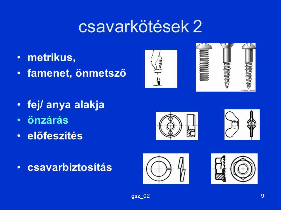 gsz_029 csavarkötések 2 metrikus, famenet, önmetsző fej/ anya alakja önzárás előfeszítés csavarbiztosítás