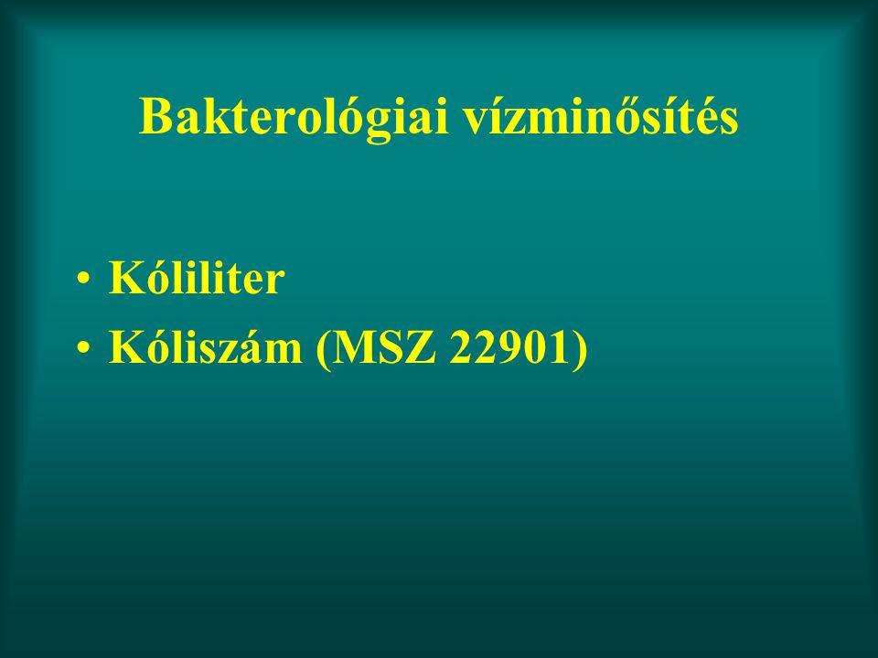 Bakterológiai vízminősítés Kóliliter Kóliszám (MSZ 22901)