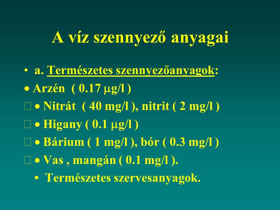 A víz szennyező anyagai a. Természetes szennyezőanyagok:  Arzén ( 0.17  g/l )  Nitrát ( 40 mg/l ), nitrit ( 2 mg/l )  Higany ( 0.1  g/l )  Bá