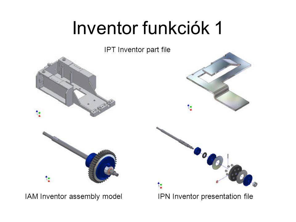 Inventor funkciók 1 IPT Inventor part file IAM Inventor assembly modelIPN Inventor presentation file