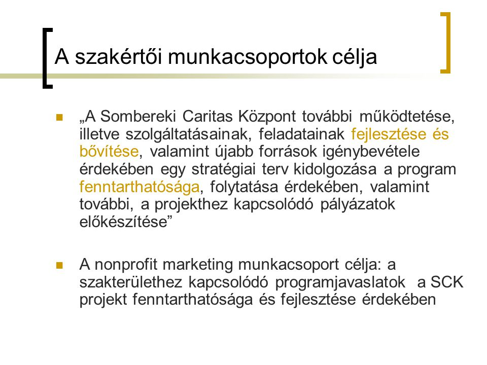 """A szakértői munkacsoportok célja """"A Sombereki Caritas Központ további működtetése, illetve szolgáltatásainak, feladatainak fejlesztése és bővítése, va"""