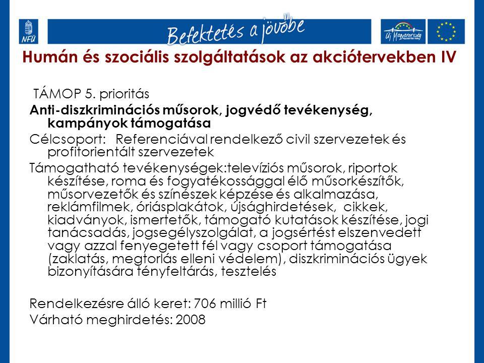 Humán és szociális szolgáltatások az akciótervekben IV TÁMOP 5. prioritás Anti-diszkriminációs műsorok, jogvédő tevékenység, kampányok támogatása Célc