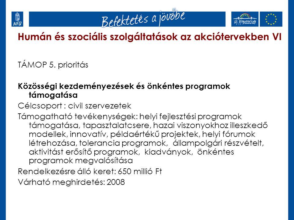 Humán és szociális szolgáltatások az akciótervekben VI TÁMOP 5. prioritás Közösségi kezdeményezések és önkéntes programok támogatása Célcsoport : civi