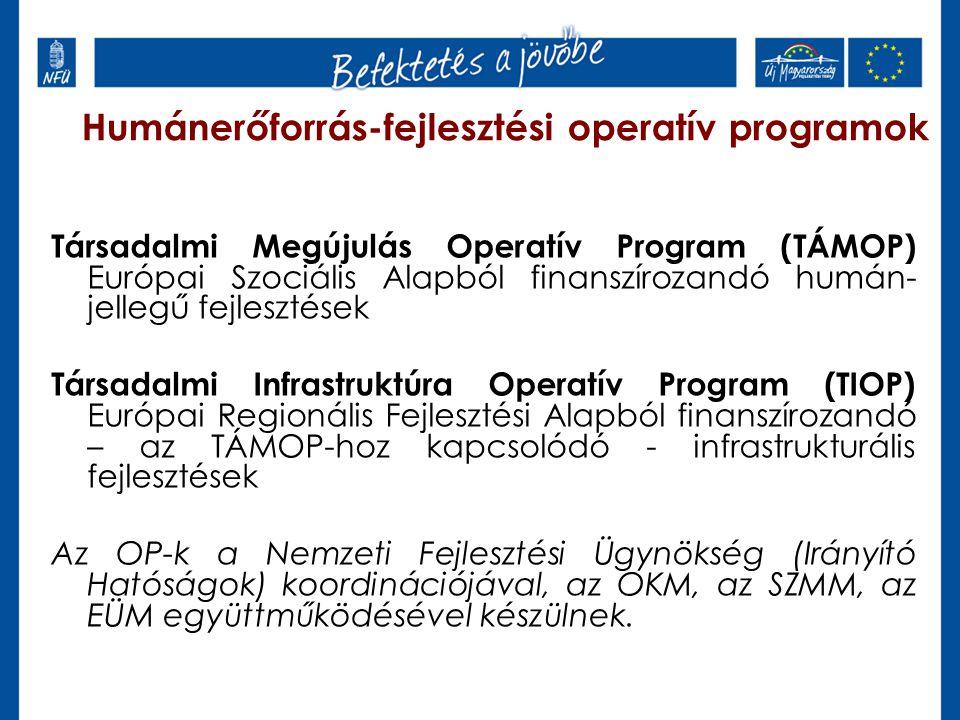 Humánerőforrás-fejlesztési operatív programok Társadalmi Megújulás Operatív Program (TÁMOP) Európai Szociális Alapból finanszírozandó humán- jellegű f