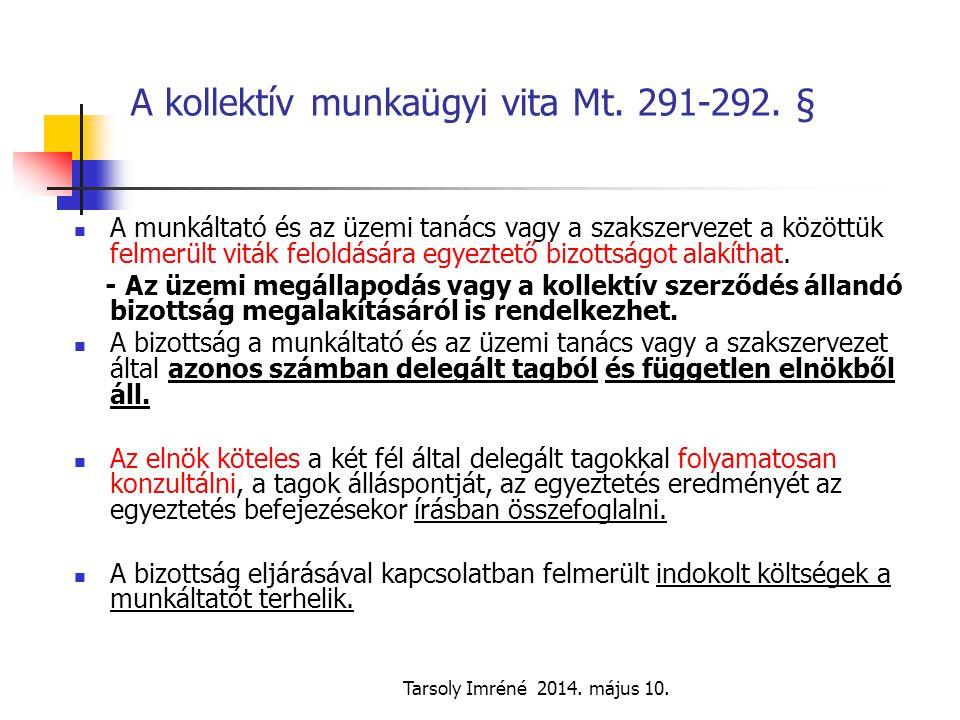 Tarsoly Imréné 2014. május 10. A kollektív munkaügyi vita Mt. 291-292. § A munkáltató és az üzemi tanács vagy a szakszervezet a közöttük felmerült vit