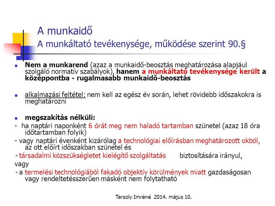Tarsoly Imréné 2014. május 10. A munkaidő A munkáltató tevékenysége, működése szerint 90.§ Nem a munkarend (azaz a munkaidő-beosztás meghatározása ala