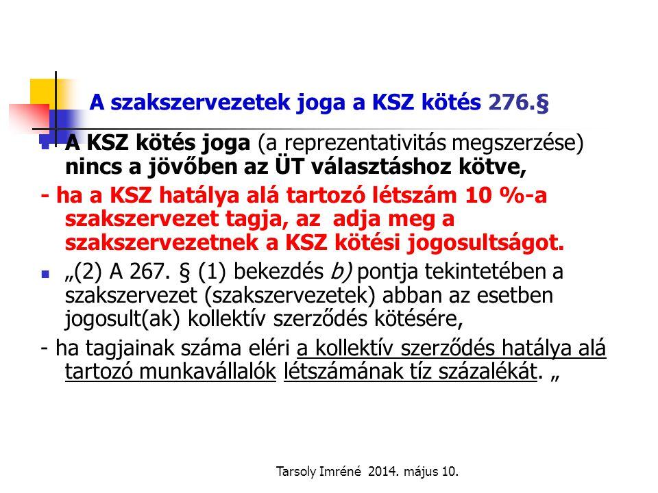Tarsoly Imréné 2014. május 10. A szakszervezetek joga a KSZ kötés 276.§ A KSZ kötés joga (a reprezentativitás megszerzése) nincs a jövőben az ÜT válas
