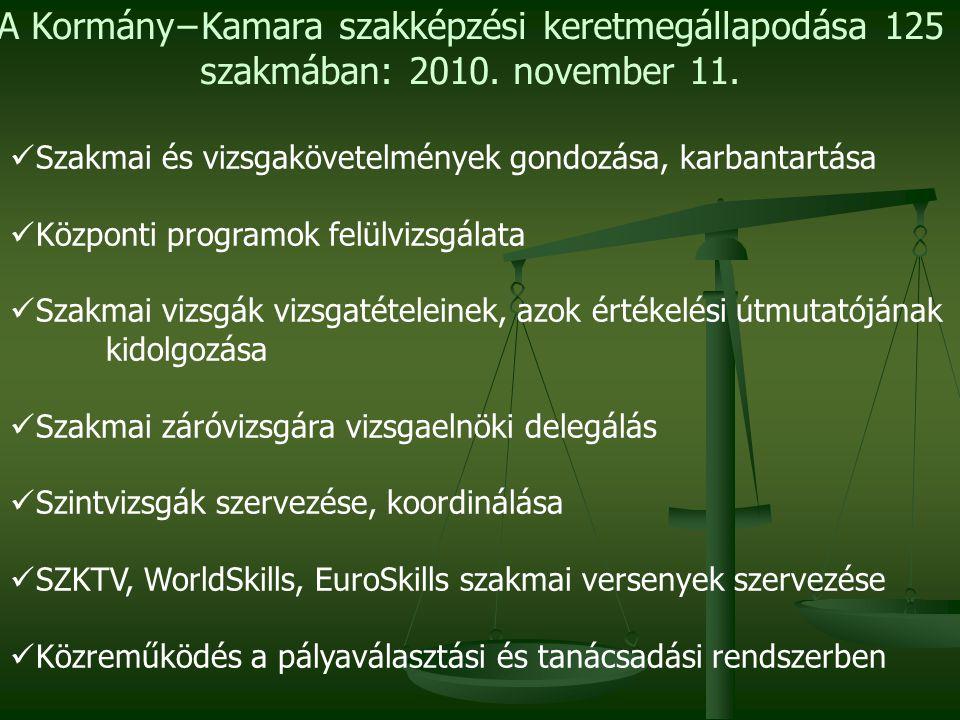 Szakmai és vizsgakövetelmények gondozása, karbantartása Központi programok felülvizsgálata Szakmai vizsgák vizsgatételeinek, azok értékelési útmutatójának kidolgozása Szakmai záróvizsgára vizsgaelnöki delegálás Szintvizsgák szervezése, koordinálása SZKTV, WorldSkills, EuroSkills szakmai versenyek szervezése Közreműködés a pályaválasztási és tanácsadási rendszerben A Kormány−Kamara szakképzési keretmegállapodása 125 szakmában: 2010.