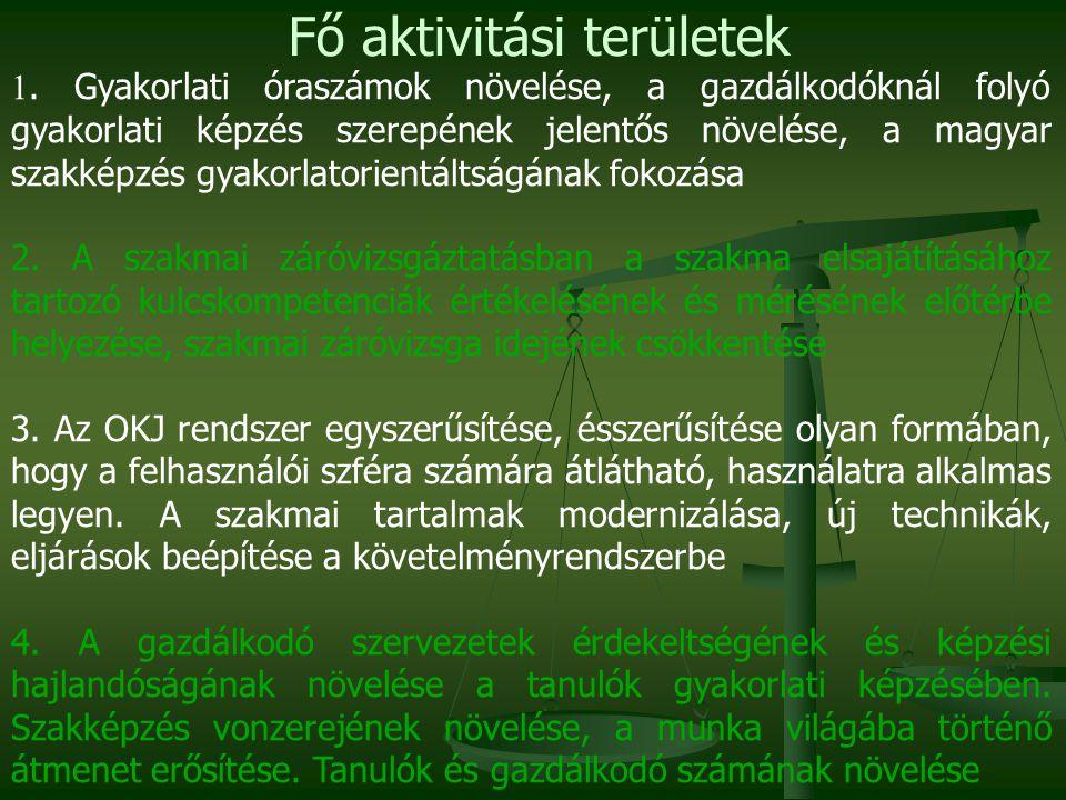 1. Gyakorlati óraszámok növelése, a gazdálkodóknál folyó gyakorlati képzés szerepének jelentős növelése, a magyar szakképzés gyakorlatorientáltságának