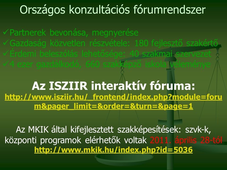 Az ISZIIR interaktív fóruma: http://www.isziir.hu/_frontend/index.php?module=foru m&pager_limit=&order=&turn=&page=1 Az MKIK által kifejlesztett szakképesítések: szvk-k, központi programok elérhetők voltak 2011.