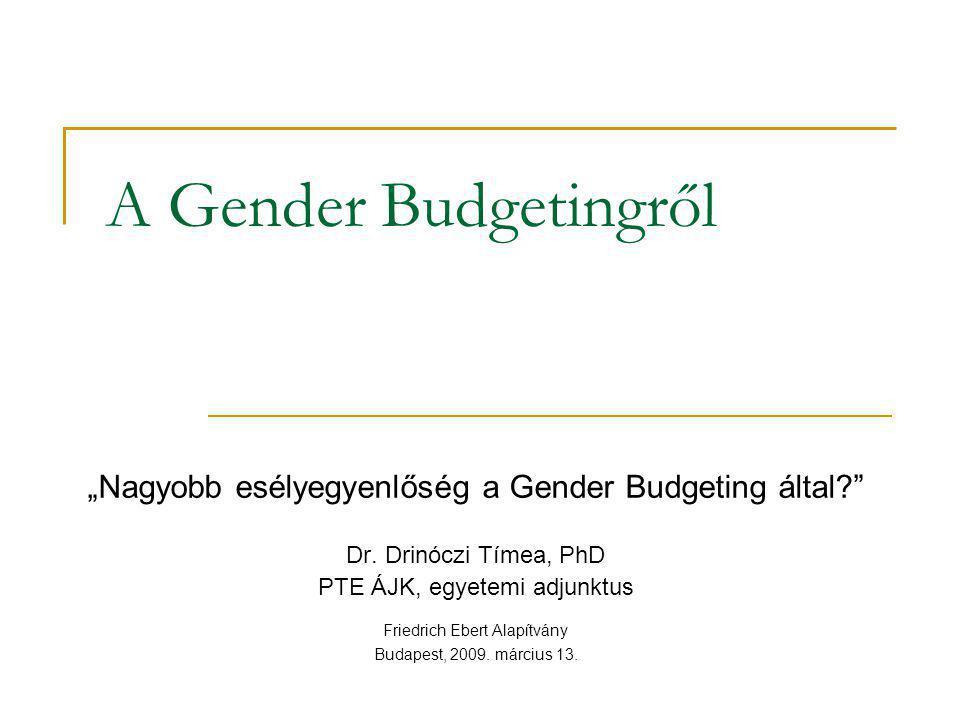 """A Gender Budgetingről """"Nagyobb esélyegyenlőség a Gender Budgeting által?"""" Dr. Drinóczi Tímea, PhD PTE ÁJK, egyetemi adjunktus Friedrich Ebert Alapítvá"""