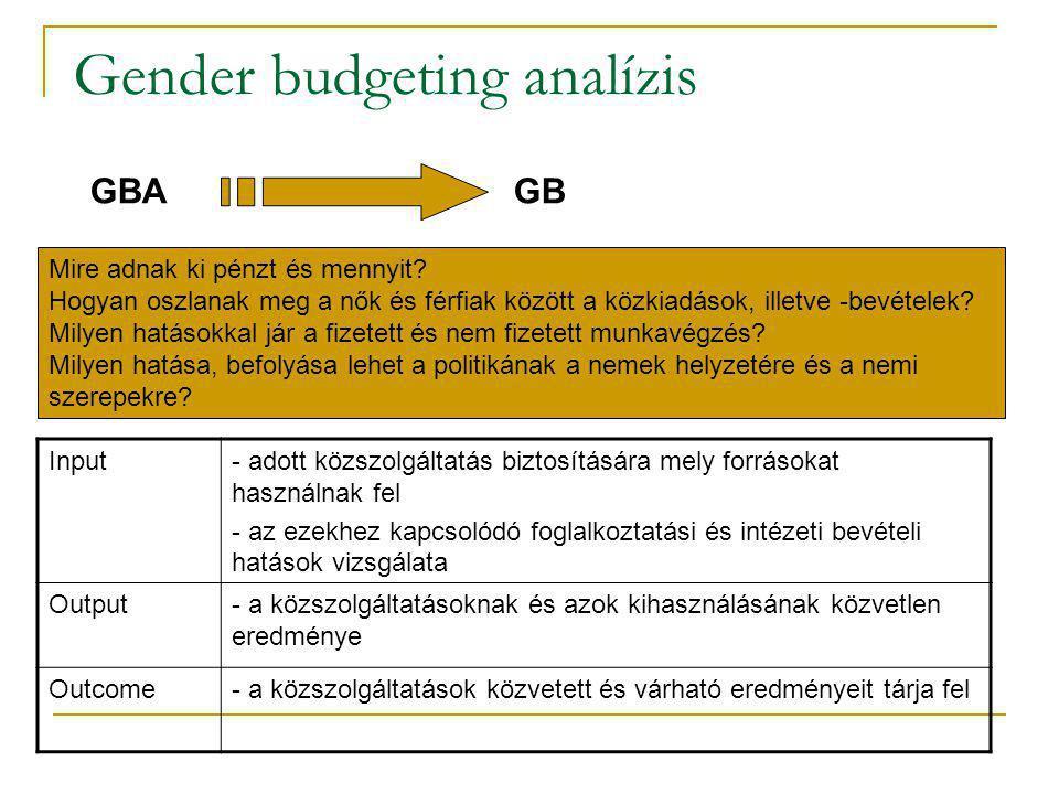Gender budgeting analízis Input- adott közszolgáltatás biztosítására mely forrásokat használnak fel - az ezekhez kapcsolódó foglalkoztatási és intézet