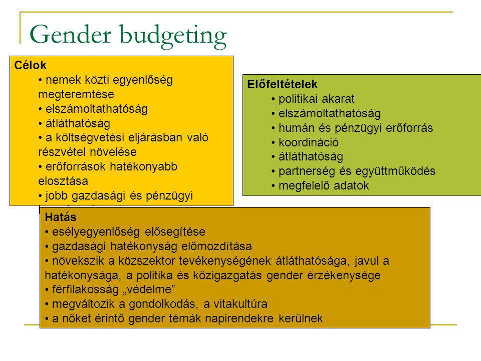 Gender budgeting Célok nemek közti egyenlőség megteremtése elszámoltathatóság átláthatóság a költségvetési eljárásban való részvétel növelése erőforrá