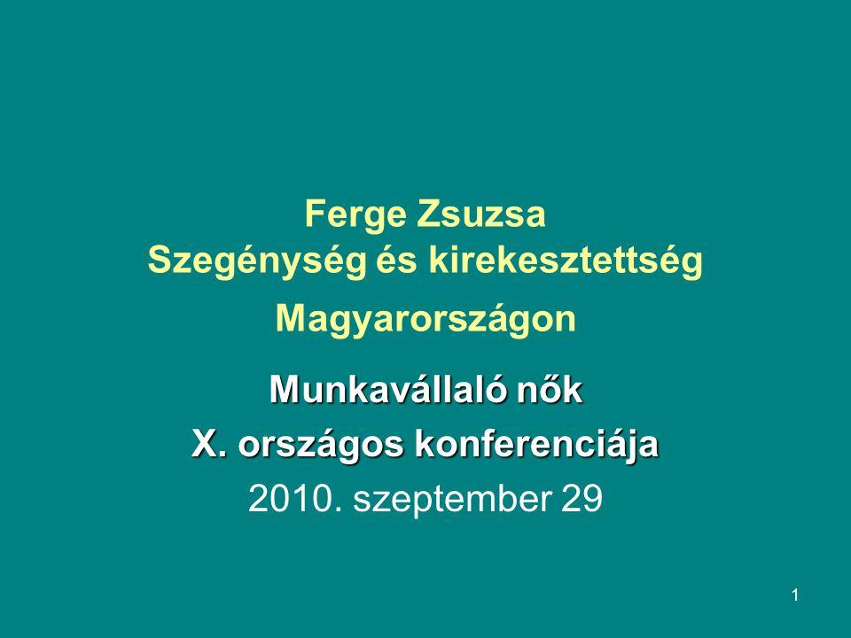 1 Ferge Zsuzsa Szegénység és kirekesztettség Magyarországon Munkavállaló nők X.