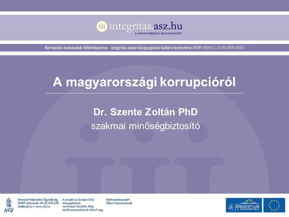 A magyarországi korrupcióról Dr. Szente Zoltán PhD szakmai minőségbiztosító