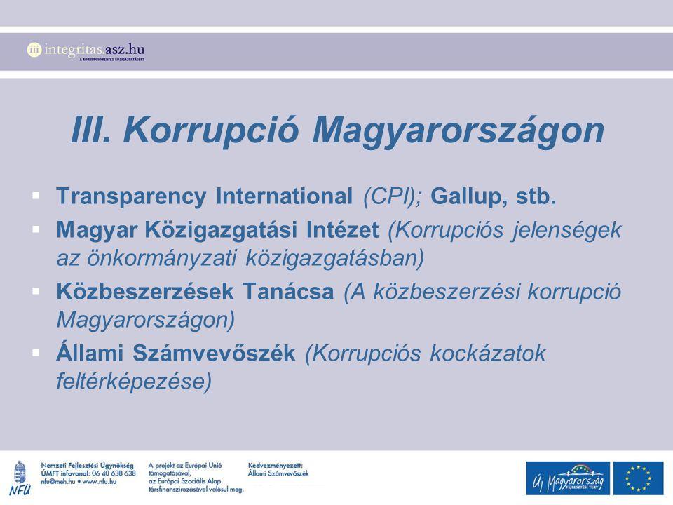 III. Korrupció Magyarországon  Transparency International (CPI); Gallup, stb.