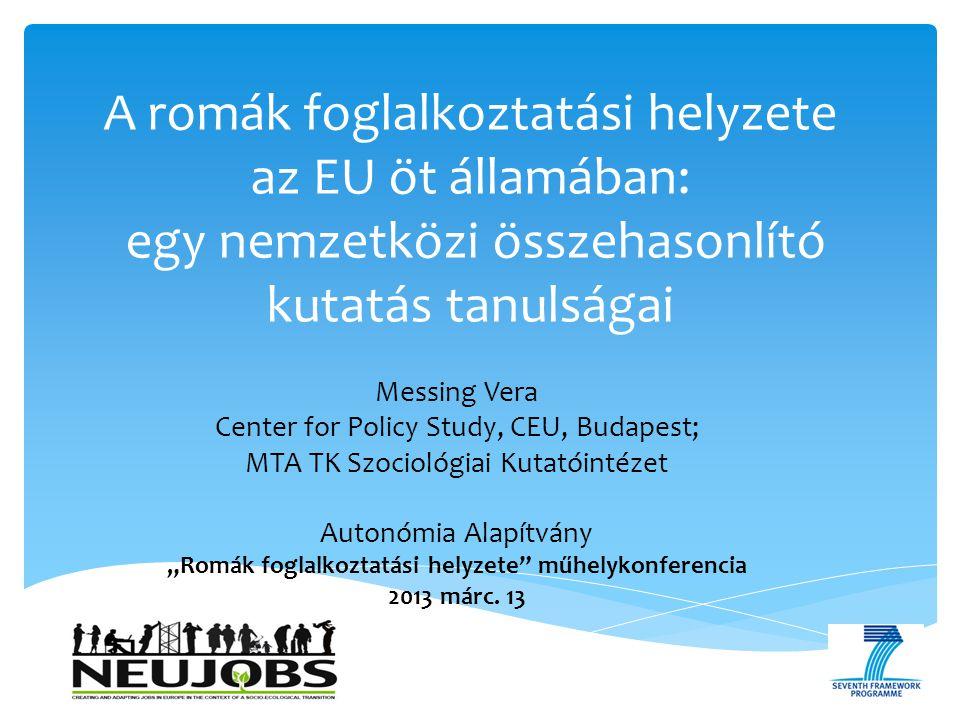  Nagyon sok és kevés adat egyszerre:  Nemzetközi összehasonlító adatok: UNDP 2004, 2011; FRA 2011; EU Inclusive 2011.