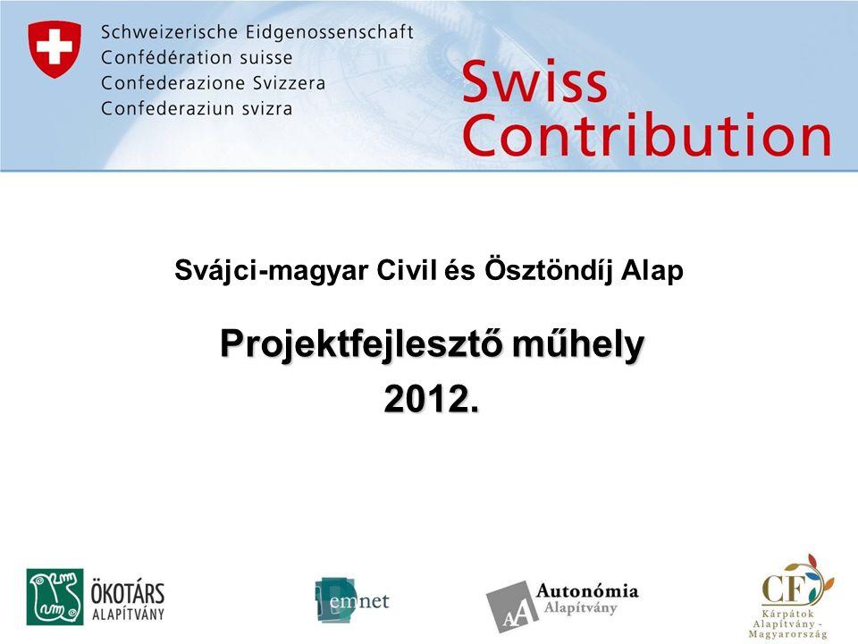 """A pályázattal kapcsolatos főbb """"eljárásrendi kérdések Részletes projekttervek benyújtása a www.svajcivil.hu űrlapkitöltő rendszerén keresztül 2012."""