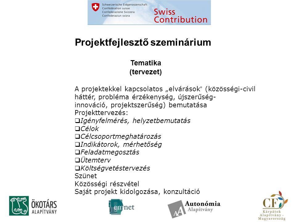 """Projektfejlesztő szeminárium Tematika (tervezet) A projektekkel kapcsolatos """"elvárások (közösségi-civil háttér, probléma érzékenység, újszerűség- innováció, projektszerűség) bemutatása Projekttervezés:  Igényfelmérés, helyzetbemutatás  Célok  Célcsoportmeghatározás  Indikátorok, mérhetőség  Feladatmegosztás  Ütemterv  Költségvetéstervezés Szünet Közösségi részvétel Saját projekt kidolgozása, konzultáció"""